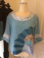 New With Tags Nouvelle Signed 100% Silk Blouse Top Size M