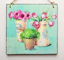 PLACCA Decorativa/immagine vintage shabby chic FIORI NEL VASO/BROCCA, giardino