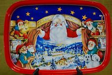 "SANTAWORLD Santa & Elves Christmas Tin/Metal Serving Tray 16""x11"" Scandinavian"