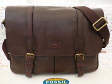 Fossil LRG Messenger Bag Canyon Espresso Leather Satchel Shoulder Bags R