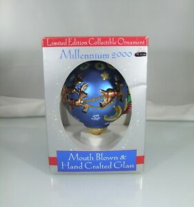 Millenium 2000 Mouth Blown & Hand Crafted Glass Christmas Ornament Santa