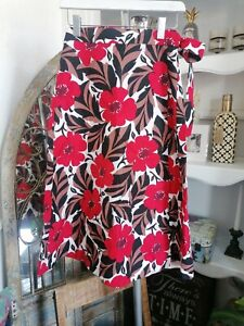 Kate Spade Poppy Field Wrap Skirt Red Floral Print Linen Size UK 6 US 2 RRP £208