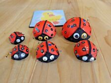 Vintage LADYBUG Fridge Magnet Set of 6 Red Fabric Foam Base Various Sizes