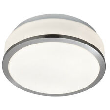 Searchlight 23cm Modern Silver White Glass Bathroom Flush Fitting Ceiling Light