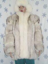Blue fox fur coat, white fox tuxedo, approx. M/S, EC. #610