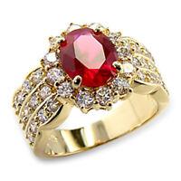 Bague luxe plaqué or 18k femme mode chic serti zirconium rubis diamant