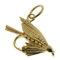 GOLD FISHING FLY CHARM.  HALLMARKED 9 CARAT GOLD SALMON FLY CHARM