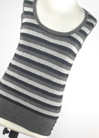 Love Knitwear Grey Striped Womens Vest Top Size 12 (Regular)