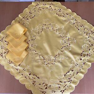 "Vintage Square Yellow Cutwork Table Cloth & 4 Napkins 33.5""x 33.5"""
