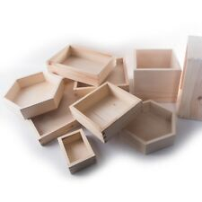 Wooden Plain Non-Lidded Open Top Display Storage Boxes Containers Organisers