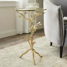 Gold Bird Accent Table Glass Top Side End Tea Small Metal Round Living Room Tree