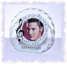 Elvis Photo With Diamante Crystals Round Plaque Gift Any Occasion