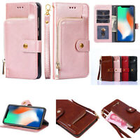 NEW Luxury Zipper Card Wallet Package Stand PU Leather Case Cover For Cell Phone