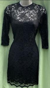 The Vestry Size 12-14 Black Lace Fit Flare Lined Floaty Lace Open Back Dress