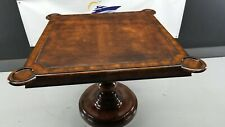 "Square Game Table with Leather Inlay, 38"" X 38"", Carved-Out Drink Holders"