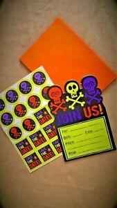 Lot invitations anniversaire ou Halloween (10 cartes + enveloppes et stickers)