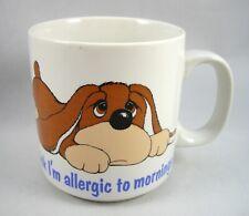 Coffee Mug Cup Samuel Spaniel Dog I Think I'm Allergic to Mornings Vintage Fun