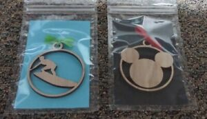NEW Surfer and Mickey Wooden Christmas Ornaments