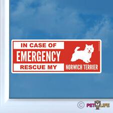 In Case of Emergency Rescue My Norwich Terrier Sticker Die Cut Vinyl - dog