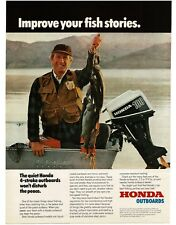 1978 HONDA 100 HP Outboard Boat Motor Fisherman With String Of Fish Vintage Ad