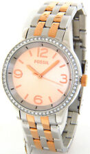 FOSSIL STELLA BQ1419 LADIES CRYSTALS ROSE GOLD FAC E STEEL CASE BRACELET CASUAL