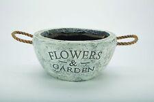 PLANTERS Garden /& Fiori in Resina Effetto Pietra-Round Medium con maniglie in corda