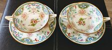 2 Minton China - 2 Handled Cream Soup Bowls with Liners HELP PATTERN
