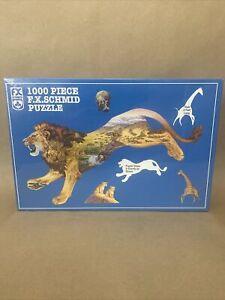 New FX Schmid 1000 Piece Shaped Animal Puzzle Lion Pride of the Plains