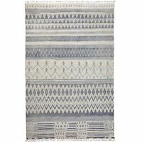 Tribal Geometric IVORY/GRAY Hand-Knotted Moroccan Gabbeh Wool Area Rug 10'x14'