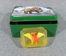 Dinosaur Tin And Toy Dinosaur Embedded Inside Glycerin Soap / Very Fun!