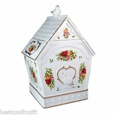 NEW ROYAL ALBERT OLD COUNTRY ROSES BIRD HOUSE COOKIE JAR CONTAINER WITH LID