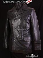 KRIEGSMARINE Men's German Pea Coat Submarine Cowhide Leather Jacket Coat Black