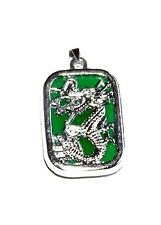 PENDANT/NECKLACE ST Silvertone & Green Jade DRAGON OVERLAY