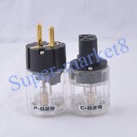 Audio Schuko Power plug Male plug & IEC Connector Polish Brass Transparent