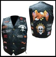"""Gilet jacket en Cuir """"23 patch - Tête de Mort"""" [ M L XL 2XL 3XL ] Biker country"""
