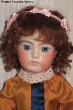 """perruque Mohair châtain poupée ancienne-20/21cm-FRANCE-Mohair doll wig Sz8"""""""