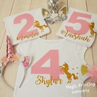 Girls Unicorn Birthday outfit Tshirt  PERSONALISED 2nd 3rd 4th 5th 6th Top Gift