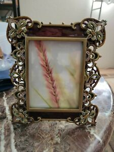 Rare Jay Strongwater Picture Frame Fleur De Lis Jeweled Swarovski Crystals