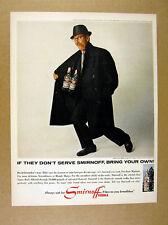 1965 Groucho Marx bottles in trenchcoat photo Smirnoff Vodka vintage print Ad