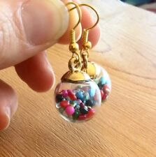 50% OFF & FREE POST OFFER! HANDMADE RAINBOW BAUBLE EARRINGS! GOLD