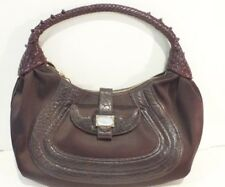 FENDI Brown Satin/Leather Nappa Spy Handbag/Hobo