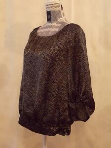 Clements Ribeiro Portobello Top size M   Blouse  3/4 Sleeve Round Neck Brown,Mix