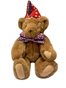 """Vermont Teddy Bear 16""""Jointed """"Happy Birthday"""" Plush Stuffed Bear With Party Hat"""