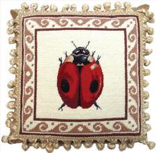 "12"" x 12"" Handmade Wool Needlepoint Petit Point Ladybug Pillow with Tassels"