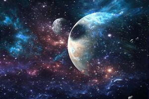 Fototapete VLIES-PLANETEN-(2568S)-Weltall Universum Galaxie Weltraum Erde Mond