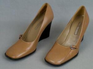 Women's ENZO ANJIOLINI Tan Leather Wedge Heel Pump Sandal Shoe Size 5.5 M EUC