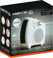 Daewoo White Small Quiet Portable 2Kw 2000W Electric Floor & Upright Fan Heater