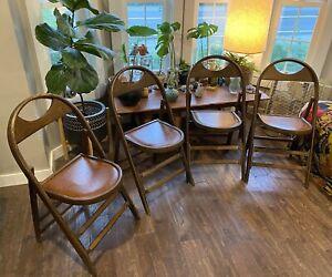 Antique 1900's Solid Kumfort Louis Rastetter & Sons Wood Folding Chairs Oak 4 (2