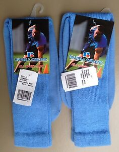 2x RUSSELL ATHLETIC All Sport Over Calf Athletic Socks Youth/Women Columbia Blue
