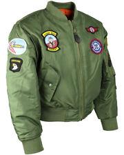 Boys/Kids MA1 US Air Force Aviator Flight Jacket Fly Army Military Bomber Coat